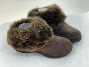 Isotoner Slipper Boots Size 6.5-7 Small Faux Fur & Suede Brown Suede Memory Foam