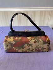 Vintage Carpet Bag Handbag Purse With Toggle Top Black Handle Accents