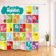 Children Cartoon Animals Alphabet Pattern Shower Curtain Liner & Hooks Bathroom