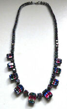 Vintage Art Deco Iris Glass Rainbow Fringe Necklace