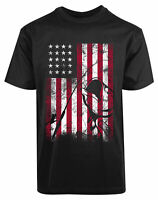 American Flag New Mens Shirt Fishing Rod Reel Labor Stylish Cool Elegant Top Tee