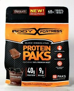 1 Bag Body Fortress 18 Oz Quick Dissolve Chocolate 40g Whey Protein 18 Paks
