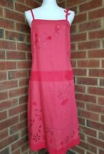 NWT FENN WRIGHT MANSON Women's Red Linen Strap Floral Beaded Tunic Dress - Sz 10