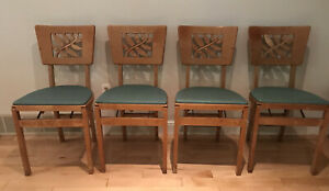 Vintage Stakmore Mid Century Modern Folding Chair Wood Portable