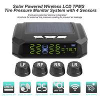 Wireless Solar Auto LCD TPMS Reifendruckkontrollsystem mit 4 Externe Sensor