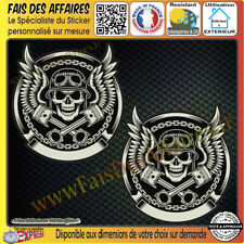 2 Stickers Autocollant adhésif skull devil piston harley decal motorcycles decal