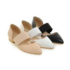 Ladies Pointed Toes Shoes Synthetic Leather Low Cuban Heels Sandals AU Size s274