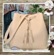 NWT TORY BURCH THEA Drawstring BUCKET Shoulder X-body Bag In SWEET MELON Leather