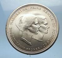 1967 DENMARK Marriage of Princess Margrethe II HUGE Silver Danish Coin i68971