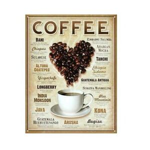 Heart Coffee Blends Metal Tin Sign 16in x 12in Coffee Poster Brand New