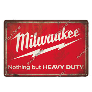 Milwaukee Power Tools Metal Sign - Wall Art, Decor for Store, Shop, Workshop