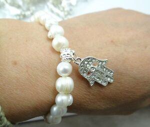 Women 7-8mm white freshwater pearl bead hand Elastic bracelet Fashion Jewelry A1