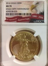 2016 $50 (1oz) American Gold Eagle - NGC MS70 30th Anniversary