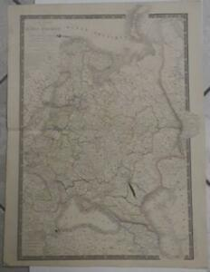 RUSSIA RUSSIAN EMPIRE IN EUROPE 1838 BRUÉ ANTIQUE COLORED LITHOGRAPHIC MAP