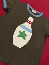 Mini Boden Boys Bowling Pin Brown Applique Ringer Tee Shirt 7 8 years