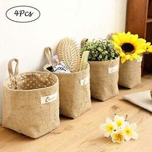 4 Pcs Hanging Storage Bag Cotton Linen Storage Basket Decor Foldable Storage Bag