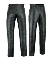 Motero Mens Motorcycle Premium Quality Cow Plain Leather Pants,Trousers,Black