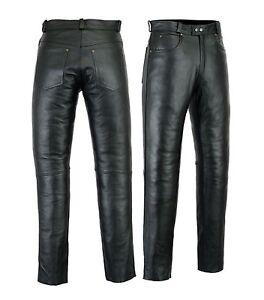 Men's Leather Jeans Pants trouser Premium Quality Cow Plain Leather Black