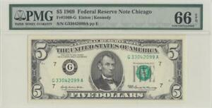 1969 FEDERAL RESERVE NOTE **CHICAGO** $5 (( PMG 66 EPQ ))