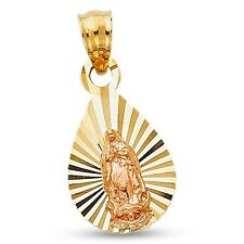 Virgin Mary Drop Pendant 14k Yellow Rose Gold Guadalupe Charm Diamond Cut Fancy