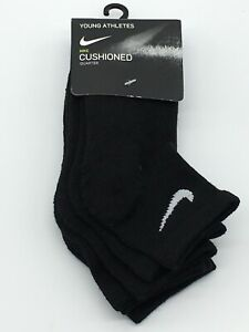 Nike Young Athletes Cushioned Ankle 3 Pack Socks Kids 13C-3Y Sock Size 6-7 Black
