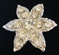 Vintage 50s 60s Diamante Silver Tone Star Fish Brooch 5 x 5 cm