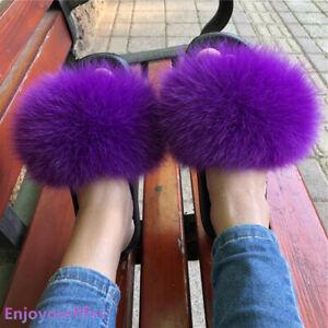 2021 New Style Women's Real Fox Fur Slides Furry Slipper Indoor Outdoor Sliders
