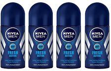 4x Nivea Fresh Active Anti-perspirant Deodorant Roll On for Men 4x 50ml