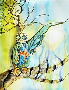 Bird Owl Tree Surreal Watercolor Paint Drips Colorful - 18x24 Print On Canvas