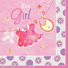 BABY Shower GIRL PINK PARTY TABLEWARE forniture Ragazze Clothesline TOVAGLIOLI x16