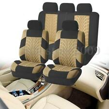 Car Seat Covers Full Set Polyester Steering Wheel Cover Belt Pads 5 Heads Brown
