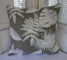 Hamptons Brown-Teal & White Leaves Cotton Blend Cushion Cover 45
