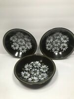 3 MIKASA RAVENNA 7505 ''MAJORCA'' COUPE SOUP BOWLS DAISIES ON BROWN JAPAN