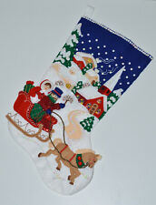 "Finished Completed Bucilla Felt Christmas Stocking ""WINTER TWILIGHT"" Sleigh 18"""