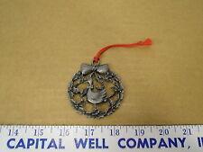 Round Pewter Metal Goose Christmas Tree Ornament - EUC