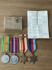 Old Original WW2 Medals War Defence Africa & 1939-45 Star Box