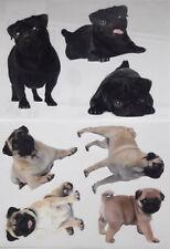 7 Stück Hunde MÖPSE Wandtattoo Aufkleber im Set Sticker Tattoo Tier Hund NEU