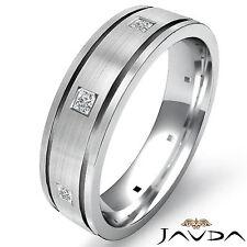 Princess Diamond Eternity Wedding Band Mens Flat Edge Ring 14k White Gold 0.17Ct