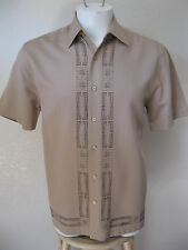 50s Rockabilly Bowling Shirt S Khaki Sewn Panels Hipster Swing Tattoo Small Swag