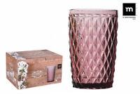 6X SIDARI PINK Vintage HIGHBALL drinking glasses 370ml beautiful gift box