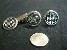 Vintage Silver Plated Round Reverse Painted Diamond Cufflinks Tie Clip       DC5