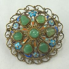 Vintage Antique Sterling Silver Enamel Carved Jade Chinese Export Brooch Pin