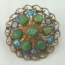 Vintage Antique Sterling Silver Enamel Carved Jade Chinese Export Brooch Pin
