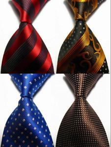 Lot of 4 Classic Paisleys Stripes Dot JACQUARD WOVEN 100% Silk Men's Tie Necktie