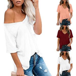 Womens V Neck T-Shirt Baggy Tops Ladies Summer Short Sleeve Split Tee Blouse UK
