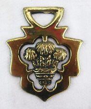 "Irish Thistle Wheat Bundle Bridal Horse Brass England Gold-tone Medallion 2.25""w"