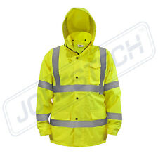 Safety Rain Jacket Reflective Green Hi-Vis Raincoat Rainjacket w Hood S-5XL