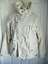 BURTON Ladies Coat Jacket L Cream White Hooded Hike Outdoors Everyday Elegant