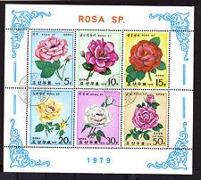 FLOWERS ROSE ROSES MINI SHEET MINT NEVER HINGED KOREA 1979 USED CTO