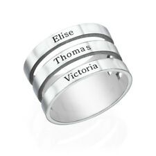 Three Name Ring in Sterling Silver - Personalized (USA Seller)